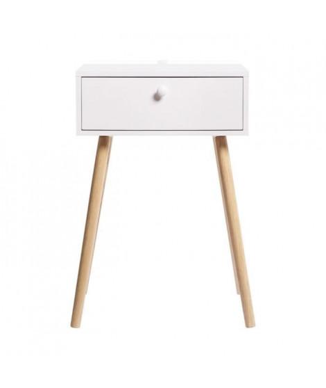 Chevet 1 tiroir - En mdf laqué et pieds en bois - HANSOME