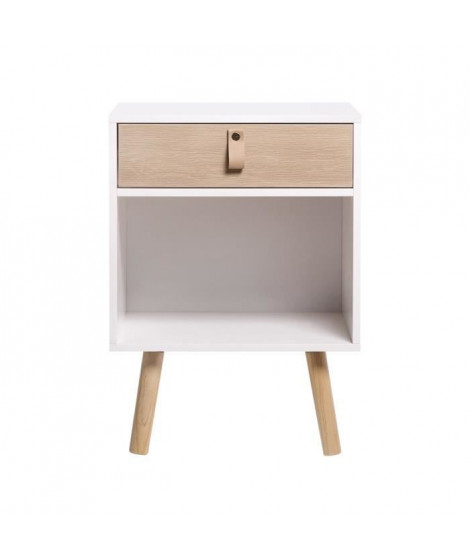 Chevet 1 tiroir - Pieds en bois - KENT L40xP30xH55 cm