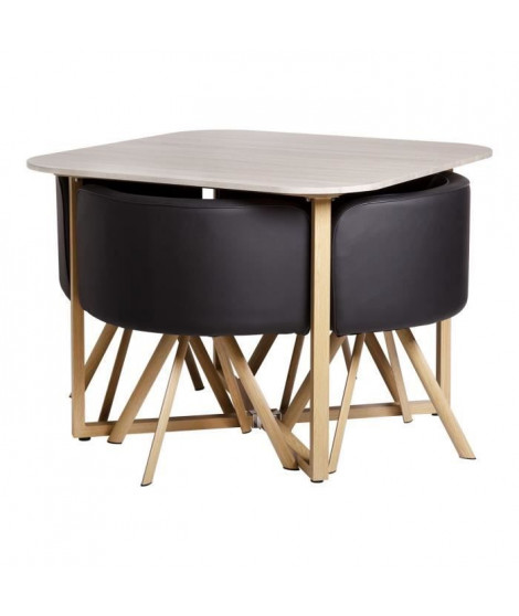 SET table a manger + 4 chaises - En mdf finition melamine - QUATTRO