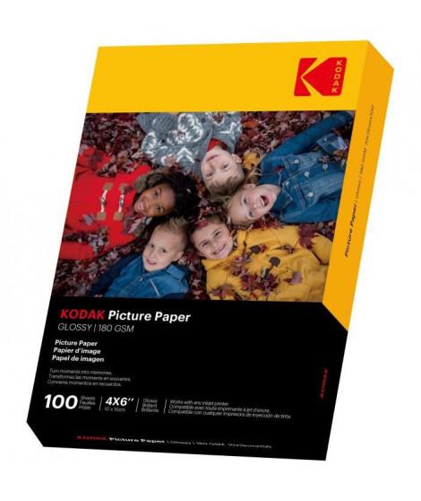 KODAK 9891161 - 100 feuilles de papier photo 180g/m², brillant, Format A6 (10x15cm), Impression Jet d'encre