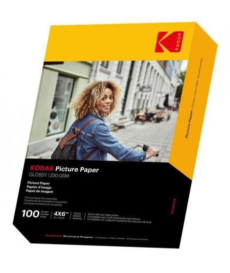 KODAK 9891164 - 100 feuilles de papier photo 230g/m², brillant, Format A6 (10x15cm), Impression Jet d'encre