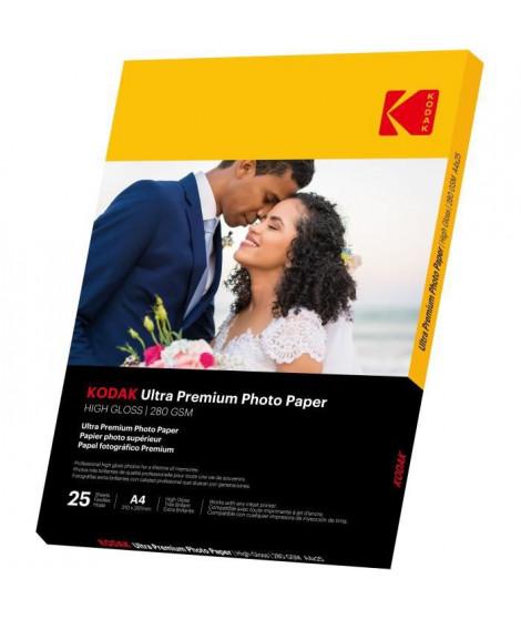 KODAK 9891261 - 25 feuilles de papier photo 280g/m², brillant, Format A4 (21x29,7cm), Impression Jet d'encre