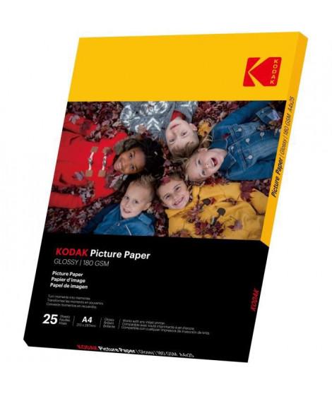 KODAK 9891263 - 25 feuilles de papier photo 180g/m², brillant, Format A4 (21x29,7cm), Impression Jet d'encre