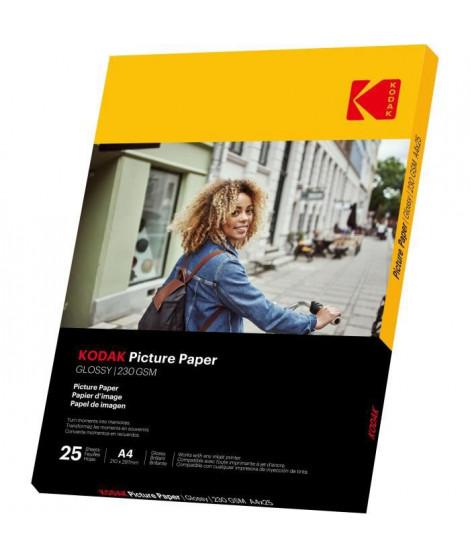 KODAK 9891266 - 25 feuilles de papier photo 230g/m², brillant, Format A4 (21x29,7cm), Impression Jet d'encre