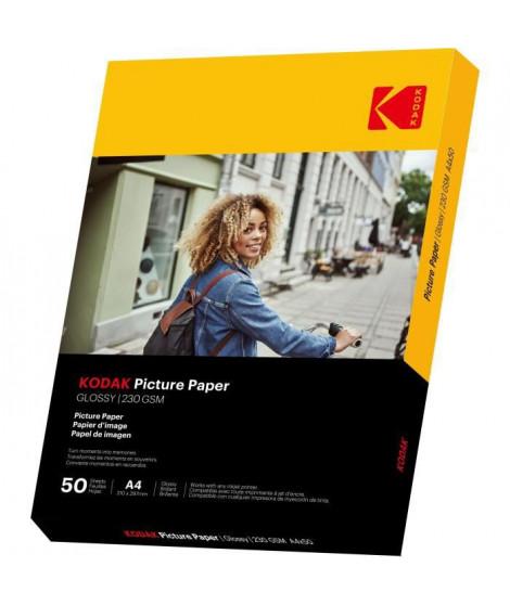 KODAK 9891267 - 50 feuilles de papier photo 230g/m², brillant, Format A4 (21x29,7cm), Impression Jet d'encre