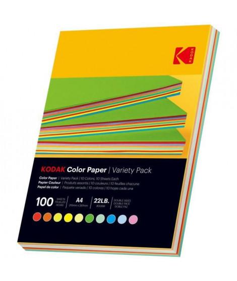 KODAK - Ramette de 100 feuilles papier couleur 80g/m², Format A4 (21x29,7cm) Rouge, Orange, Jaune, Vert, Bleu et Rose
