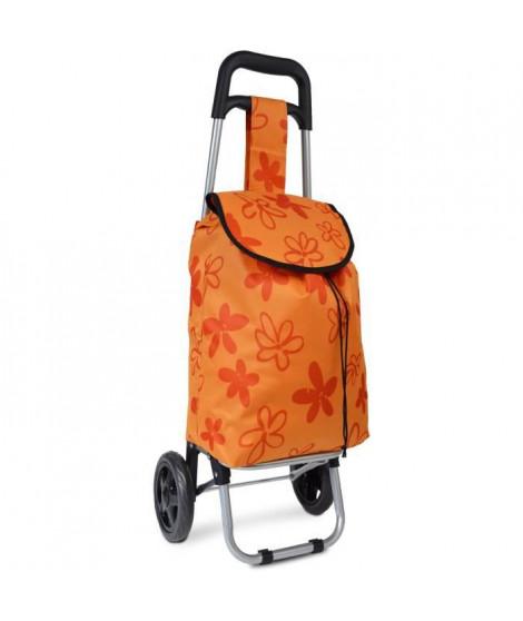 KINSTON Chariot de Course Motif Fleurs Orange
