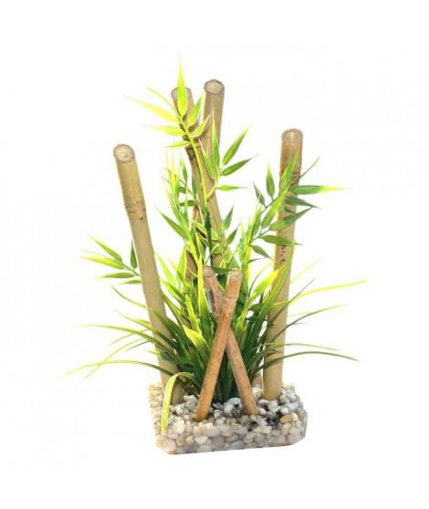 SYDECO Bambou large plantes - Décoration bambou plantes + support pour Aquarium
