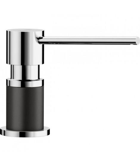 Distributeur de savon, liquide vaisselle d'évier, a encastrer, accessoire cuisine, BLANCO LATO noir / chromé, contenance 300ml