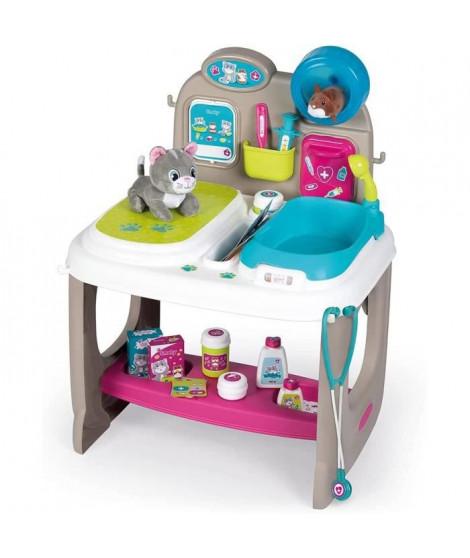Smoby - Centre Vétérinaire - Clinique Animaux - Jouet pour Enfant - Peluche Chaton + Hamster Incluses - 18 Accessoires Médicaux