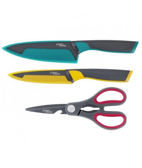 CHEFCLUB BY TEFAL K172S305 Set 3 pieces : couteau chef 15 cm, couteau de cuisine 12 cm, ciseaux de cuisine 3en1