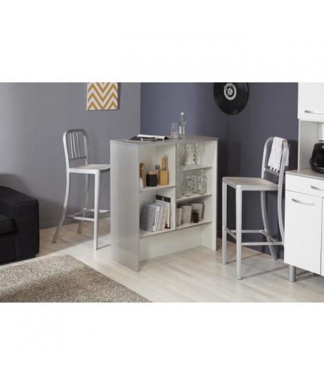 EKIPA Ilot de cuisine - Gris alu et Blanc - 91x105x42 cm - L 91 x P 42 x 105 cm - ESSENTIEL
