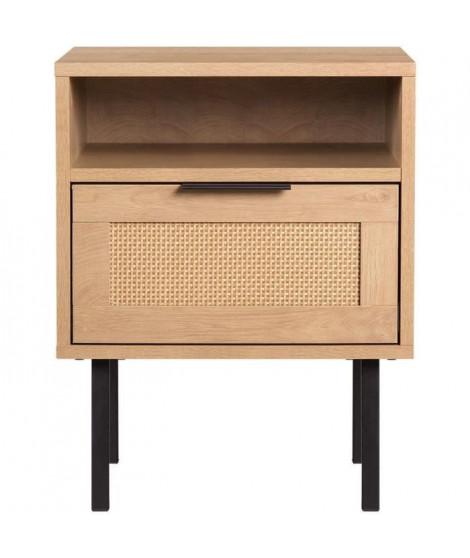 Table de chevet avec 1 tiroir et 1 niche - En panneaux de particules avec piétement en métal noir - RUSSELL