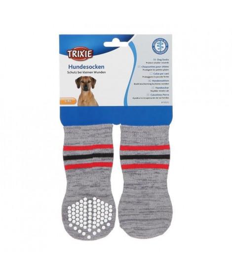 TRIXIE Lot de 2 Chaussettes antidérapant - L–XL - Gris - Pour chien