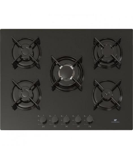 CONTINENTAL EDISON - CTG5VB9 - Table de cuisson Gaz 5 feux grilles emails verre noir