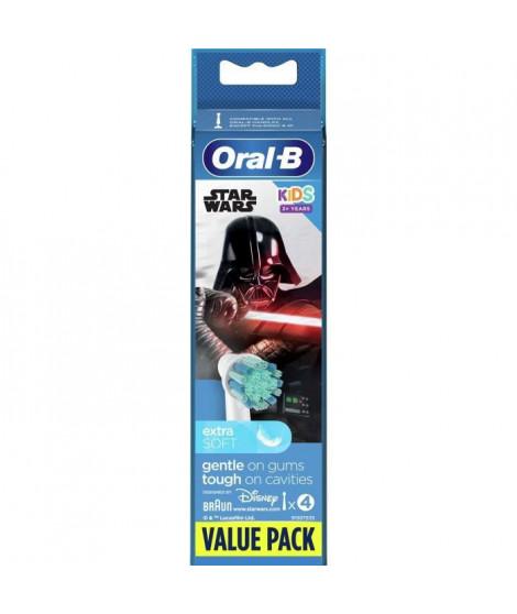 ORAL-B 80352668 - Brossettes de rechange Star Wars - Pour brosse a dents éléctrique Oral-B Kids - Lot de 4