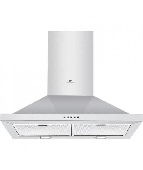 CONTINENTAL EDISON HP60IX - Hotte pyramide 60 cm, inox, évacuation/recyclage, débit d'air 620m3/hr, 3 vitesses,67 dB, C
