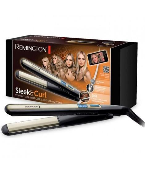Remington S6500 Fer a Lisser, Fer a Boucler, Lisseur, Boucleur Sleek & Curl, Plaques XL Advanced Ceramic