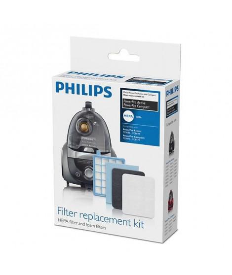 Accessoire aspirateur - PHILIPS FC8058/01 Kit de 3 filtres: 1 de sortie HEPA 10, 1 moteur + 1 en mousse