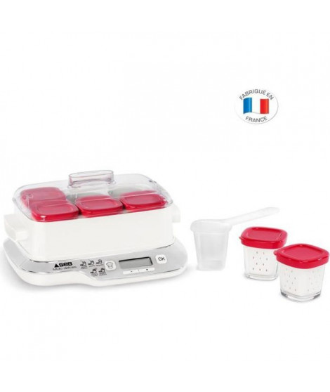 SEB YG660100 EXPRESS COMPACT Yaourtiere multidélices 6 pots - Blanc/Rouge