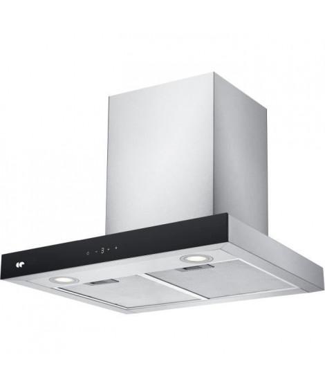 CONTINENTAL EDISON - CEH60ST - Hotte décorative - 642 m3/hr - A++ - 4 vitesses - L60cm - Inox + Noir