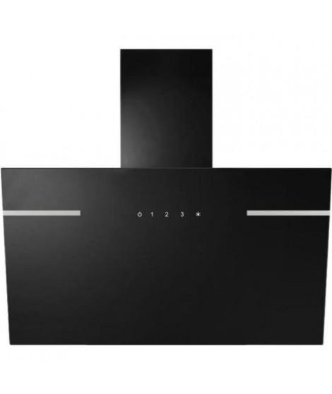 CONTINENTAL EDISON CEH6052BVB Hotte inclinée déco 60 cm - noir en verre avec bande inox - 520 m3/h - Classe C - 3 vitesses - …