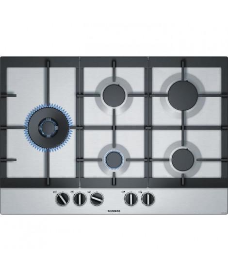 SIEMENS EC7A5SB90 Table de cuisson gaz - 5 foyers - 12500W max - L75 x P52cm - Revetement inox - Coloris inox
