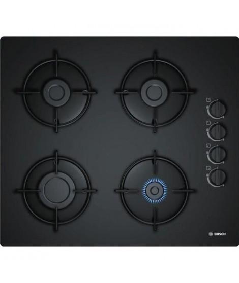 BOSCH POP6B6B10 Table de cuisson gaz - 4 foyers - 7400W - L56 x P48cm - Revetement verre trempé - Noir
