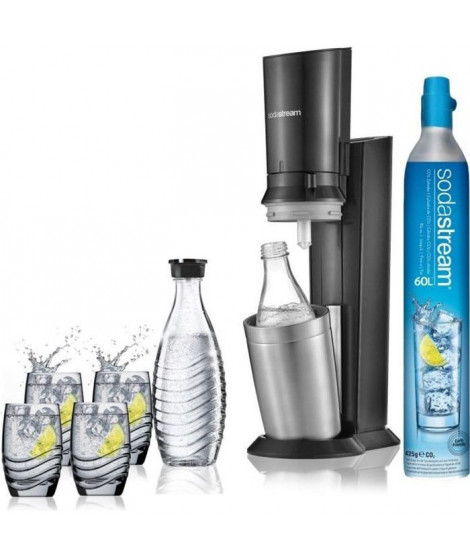 SODASTREAM Machine a soda Crystal + 1 Carafe Verre Sodastream