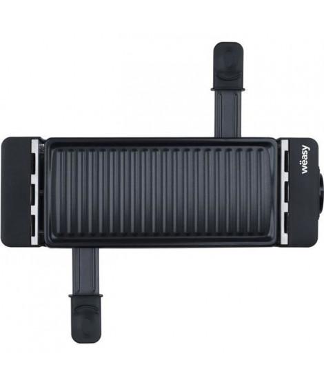WEASY TIK12 Raclette noire connectable 2 personnes - Grill - 400W - Revetement anti-adhésif - Plaque amovible