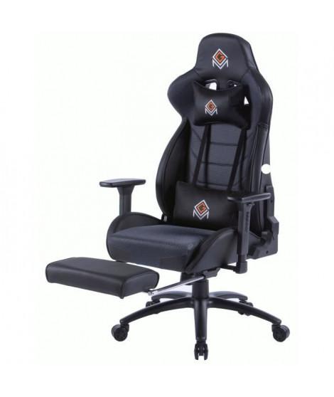 CGM-Chaise gaming fonction bascule en polyester et PU, base en métal - avec appui-tete, repose-pieds et oreiller lombaires -