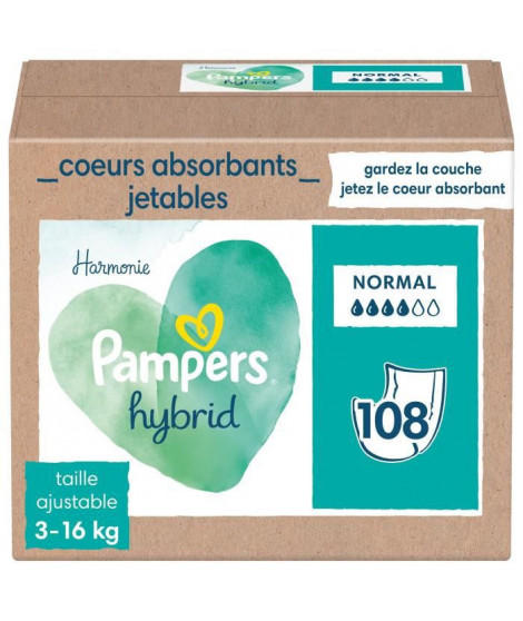 PAMPERS Hybrid Couches lavables Coeurs absorbants Jetables x108