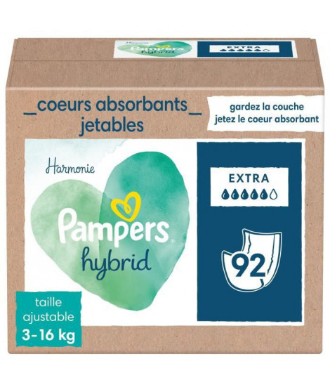 PAMPERS Hybrid Couches lavables Coeurs absorbants Jetables x92