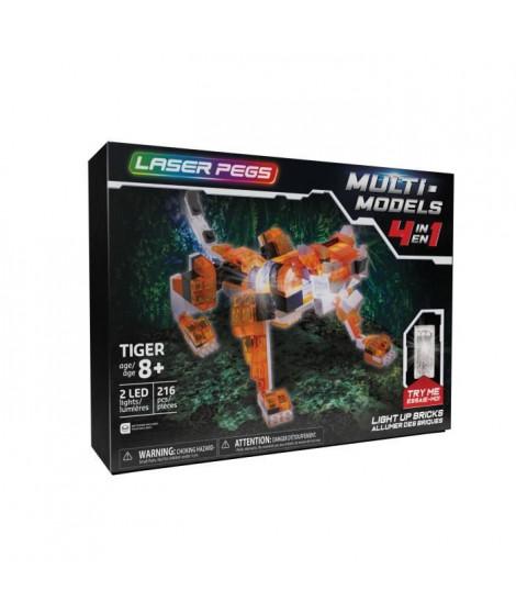 Laser Pegs, Tigre rouge - 4 en 1 - 216 pcs, Construction, brique lumineuse, Jouet pour enfants des 8 ans, LAU04