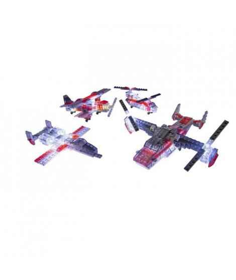 Laser Pegs, Véhicule aérien - 5 en 1 - 172 pcs, Construction, brique lumineuse, Jouet pour enfants des 8 ans, LAU07