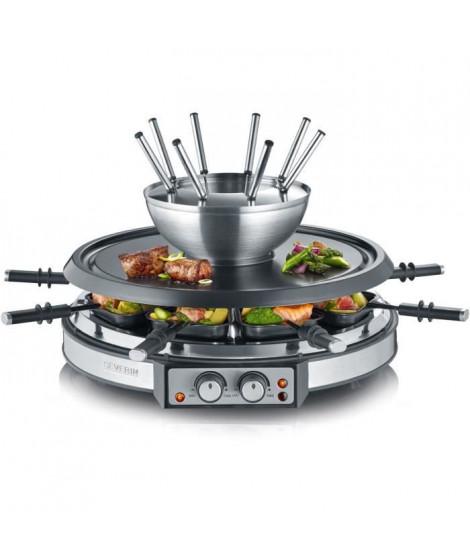SEVERIN RG2348 - Combiné 2 en 1 Raclette et Fondue 8 personnes - 1900W - 8 fourchettes a fondue et 8 spatules - Cuve Inox