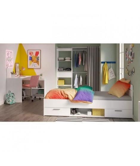 DEMEYERE Chambre complete enfant - Lit + bureau + dressing - Blanc - LILA