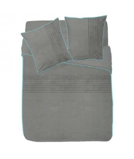 FINLANDEK Parure de couette Plissé 100% coton - 1 housse de couette 200x200 cm + 2 taies d'oreillers 63x63 cm gris