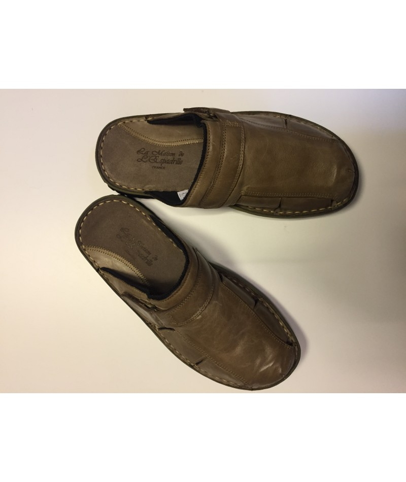 be510be37 Mules Homme Cuir Marron