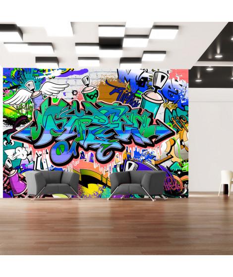 Papier peint - Graffiti: motif bleu