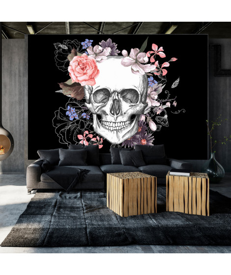 Papier peint - Skull and Flowers