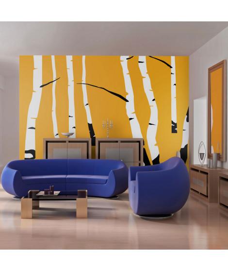 Papier peint - Birches on the orange background