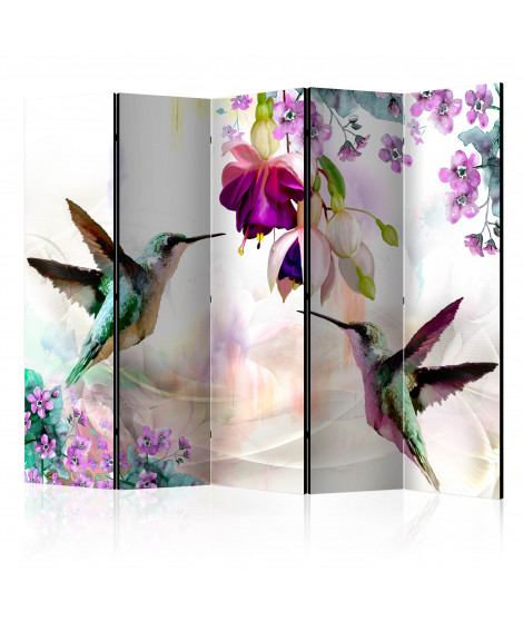 Paravent 5 volets - Hummingbirds and Flowers II [Room Dividers]