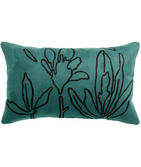 Coussin Anime Flore brodé Prusse 30 x 50