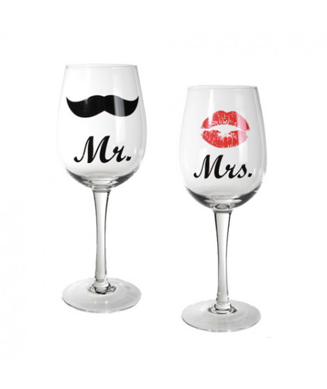 Verres à Vin Mr & Mrs