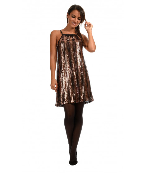 Robe Cocktail LINA Bronze / Noir