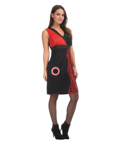 Robe TALINE Gris / Rouge