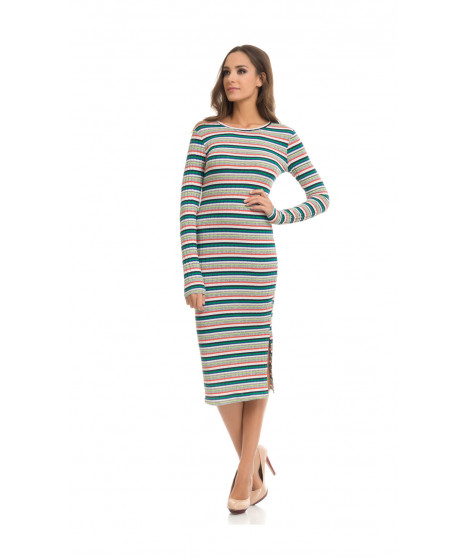 Robe pull manches longues EVA Vert / Gris