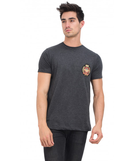 T-shirt col rond manches courtes MIDAKIL ANTHRA MEL Anthracite