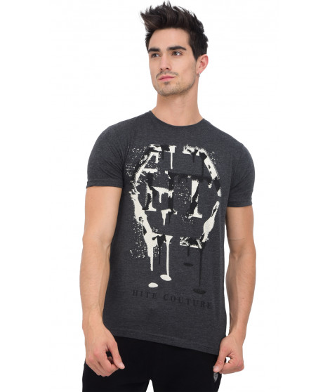 T-shirt col rond manches courtes MITIL ANTHRA MEL Anthracite